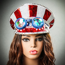 Steampunk Burning Man Captain Hat with Kaleidoscope 3D Glitter Goggles Model