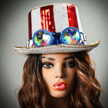 Steampunk Burning Man Top Hat with Kaleidoscope 3D Glitter Goggles with Model