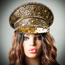Steampunk Burning Man Spike Captain Hat - Metallic Gold with Model