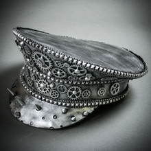 Steampunk Burning Man Spike Captain Hat - Metallic Silver