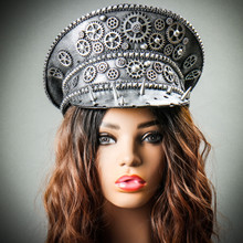Steampunk Burning Man Spike Captain Hat - Metallic Silver with Model