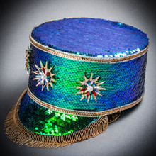 Steampunk Burning Man Captain Tall Cap with Gold Chain - Green Purple