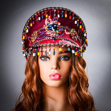Steampunk Burning Man Captain Hat with Rhinestone Bead Jewelry - Burgundy