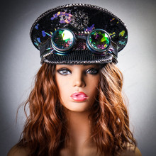 Steampunk Burning Man Captain Hat with Kaleidoscope 3D Goggles - Black (Models)