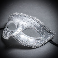 Classic Glitter Venetian Masquerade Mask - Silver