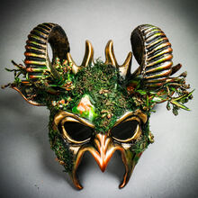Demon Forest Devil Satan with Horns Masquerade Mask - Black Gold