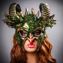 Demon Forest Devil Satan with Horns Masquerade Mask - Black Gold Model