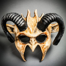 Demon Devil Satan with Black Horns Masquerade Mask - Stone White
