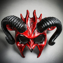 Demon Devil Satan with Black Horns Masquerade Mask - Bloody Red
