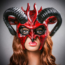 Demon Devil Satan with Black Horns Masquerade Mask - Bloody Red ( with Model)
