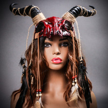 Antelope Devil Animal Skull with Impala Horns Masquerade Mask Wear on Head- Bloody Red