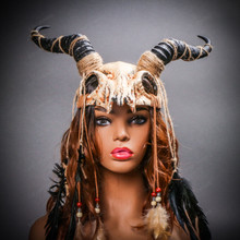 Antelope Devil Animal Skull with Impala Horns Masquerade Mask - Stone White with Model