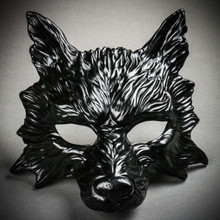 Wild Wolf Animal Full Face Masquerade Mask - Black