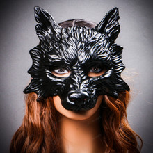Wild Wolf Animal Full Face Masquerade Mask - Black with models