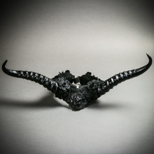 Gothic Demon Long Horn with Lace Head Piece - Black