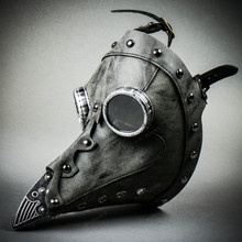 Steampunk Full Face Plague Doctor Mask - Grey