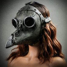 Steampunk Full Face Plague Doctor Mask - Grey with Models