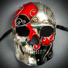 Venetian Mardi Gras Skull Full Face Mask - Red Silver Black