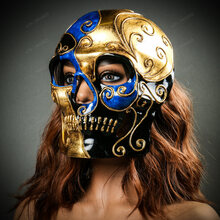 Venetian Mardi Gras Skull Full Face Mask - Blue Gold Black with model
