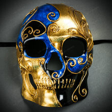 Venetian Mardi Gras Skull Full Face Mask - Blue Gold Black