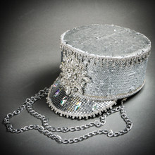 Steampunk Burning Man Captain Tall Cap with Rhinestone Silver