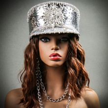 Steampunk Burning Man Captain Tall Cap with Rhinestone Silver with Models