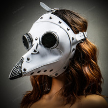 Steampunk Full Face Plague Doctor Mask - White with Model