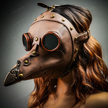 Steampunk Full Face Plague Doctor Mask - Brown with Female model