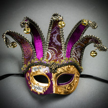 ester Joker Venetian Musical Eye Mask with Bells - Gold Purple