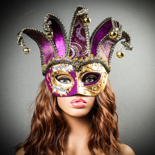 ester Joker Venetian Musical Eye Mask with Bells - Gold Purple with Model
