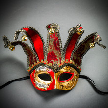 ester Joker Venetian Musical Eye Mask with Bells - Gold Red