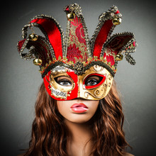 ester Joker Venetian Musical Eye Mask with Bells - Gold Red  with Model