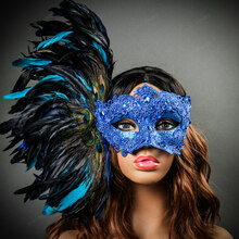 Luxury Traditional Venice Women Carnival Masquerade Venetian Mask with side Feather - Blue with Models