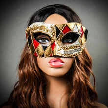 Classic Musical Venetian Masquerade Eye Mask - Gold Black with Model