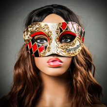 Classic Musical Venetian Masquerade Eye Mask - Gold Red with Model
