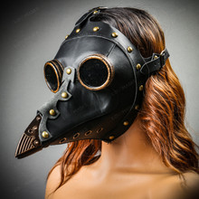 Steampunk Full Face Plague Doctor Mask - Black with female model