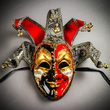 Medieval Jester Musical Joker Venetian Masquerade Full Face Mask with Bells - Black Red Gold