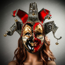Medieval Jester Musical Joker Venetian Masquerade Full Face Mask with Bells Female Model
