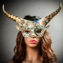 Krampus Gold Horn Crackle Animal Devil Party Mask - White Gold with model
