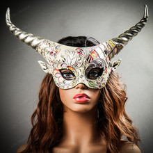 Krampus Silver Horn Crackle Animal Devil Party Mask - White Gold with Model