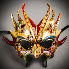Mythical Demon Devil Elegant Masquerade Mask - Gold Blue Red