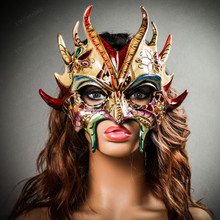 Mythical Demon Devil Elegant Masquerade Mask - Gold Blue Red (with female model)