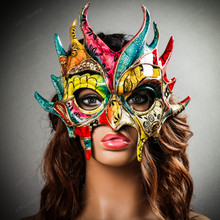 Mythical Demon Devil Crackle Elegant Masquerade Mask - Yellow Blue Red  with Female Model