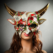 Demon Masquerade Devil Mythical Halloween Party Mask - White Gold with Female Model