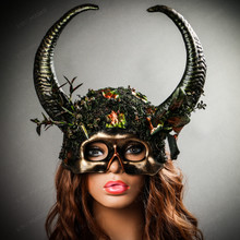 Skull Half Face Forest Theme with OX Horns Masquerade Mask - Black Gold with Female Model
