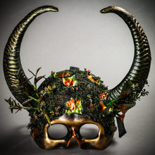 Skull Half Face Forest Theme with OX Horns Masquerade Mask - Black Gold