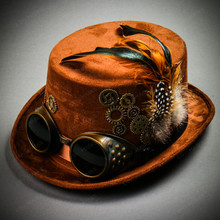 Steampunk Victorian Feather Vintage Top Hat with Goggles - Brown