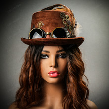 Steampunk Victorian Feather Vintage Top Hat with Goggles - Brown (With Female Model Front view)