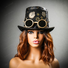 Steampunk Vintage Top Hat with Metallic Gold Goggles - Black Gold (with Female Model)