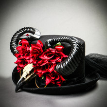 teampunk Halloween Top Hat with Horn & Rose - Black
